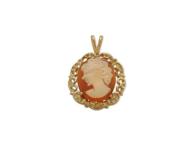 14K Yellow Gold Cornelian Shell Cameo Pendant with Chain