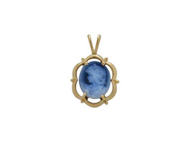 Fancy 14 Karat Yellow Gold Blue Agate Cameo Pendant with Chain