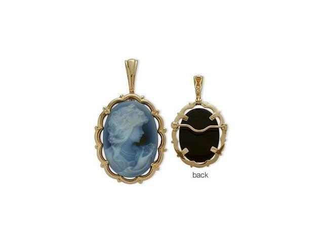 14 Karat Yellow Gold Blue Agate Cameo Pendant with Chain