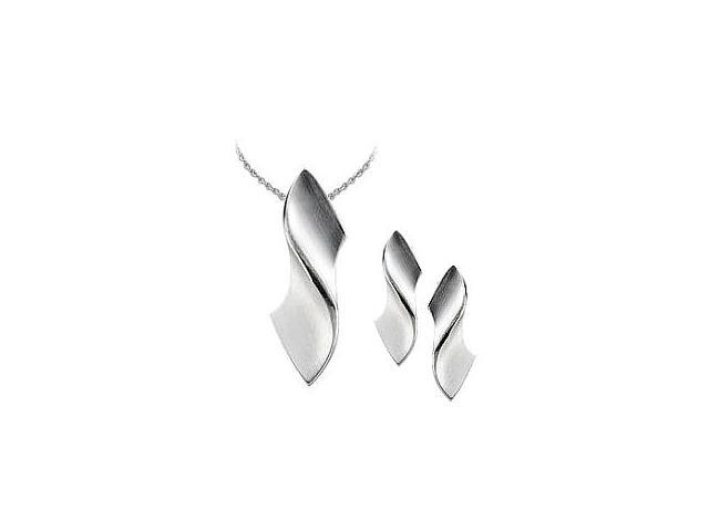 Genuine Sterling Silver Satin Finish Pendant & Earrings Set with a chain