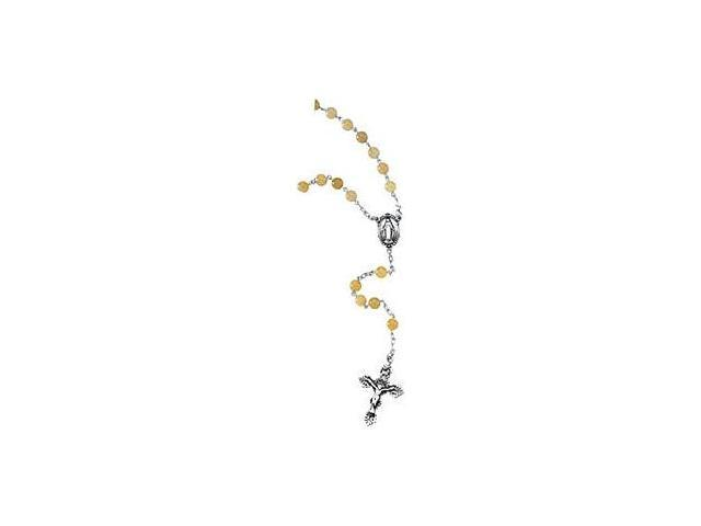 Genuine Sterling Silver Yellow Jade Bead Rosary