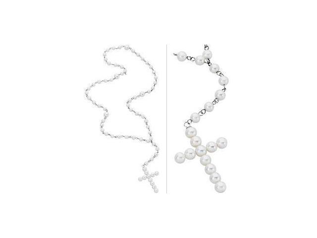 Genuine Sterling Silver White Freshwater Cultured Pearl Rosary