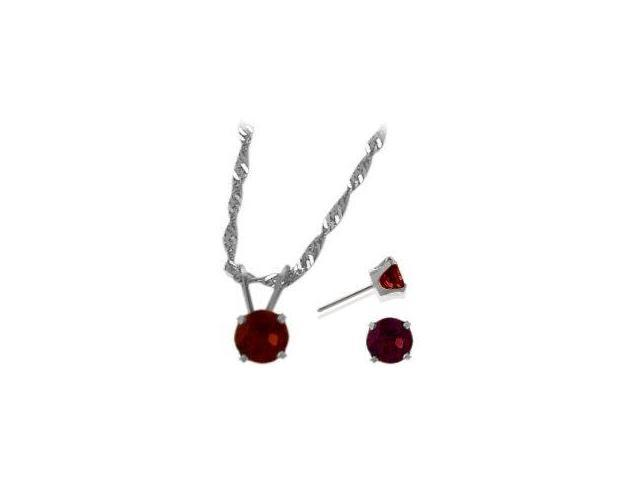 14K White Gold Genuine 1.71tcw. Garnet Solitaire Pendant and Earrings Set