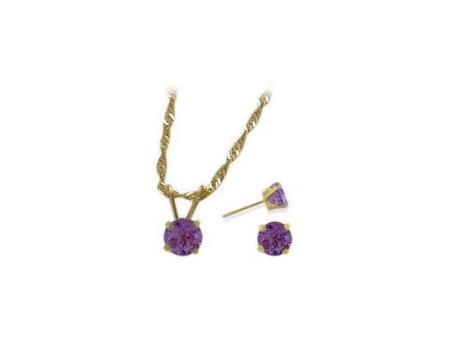 14K Yellow Gold Genuine 1.35tcw. Amethyst Solitaire Pendant and Earrings Set