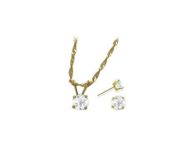 14K Yellow Gold Genuine 1.65tcw. White Topaz Solitaire Pendant and Earrings Set
