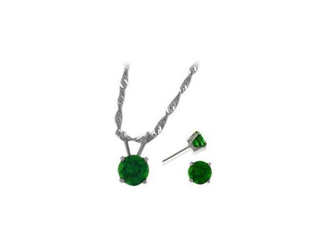 14K White Gold Created 1.35tcw. Emerald Solitaire Pendant and Earrings Set