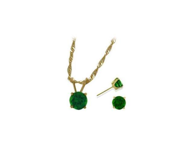 14K Yellow Gold Created 1.35tcw. Emerald Solitaire Pendant and Earrings Set