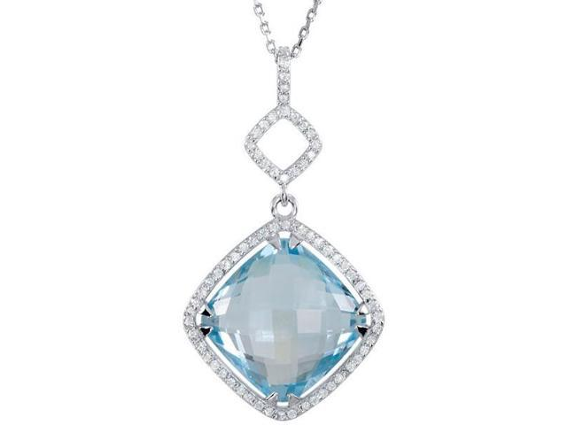 Genuine Silver 14mm Sky Blue Topaz and 0.34tcw Diamond Pendant with a chain