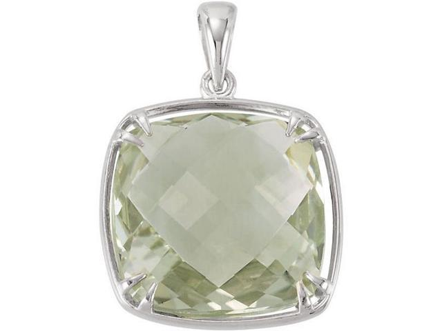 Genuine Sterling Silver 16mm Checkerboard Green Quartz Pendant with a chain