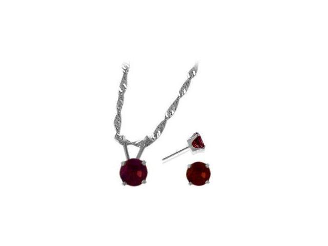 14K White Gold Genuine 1.71tcw. Rhodolite Solitaire Pendant and Earrings Set