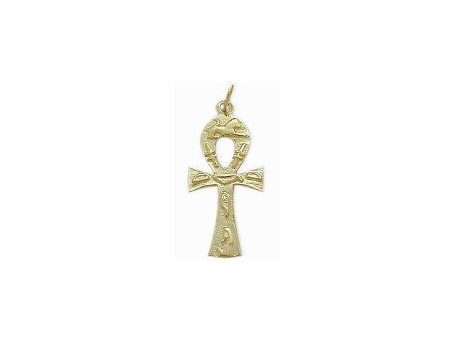 10 Karat Yellow Gold Hieroglyphic Ankh Charm Pendant with Chain