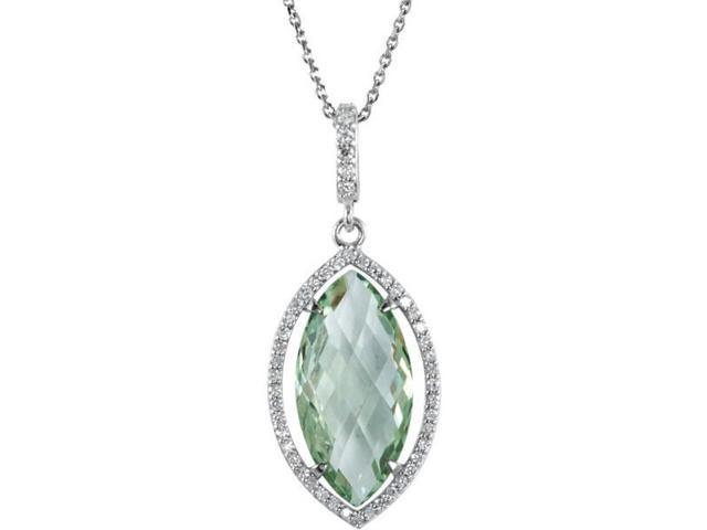 Genuine Silver Green Marquise Quartz and 0.28tcw Diamond Pendant with chain