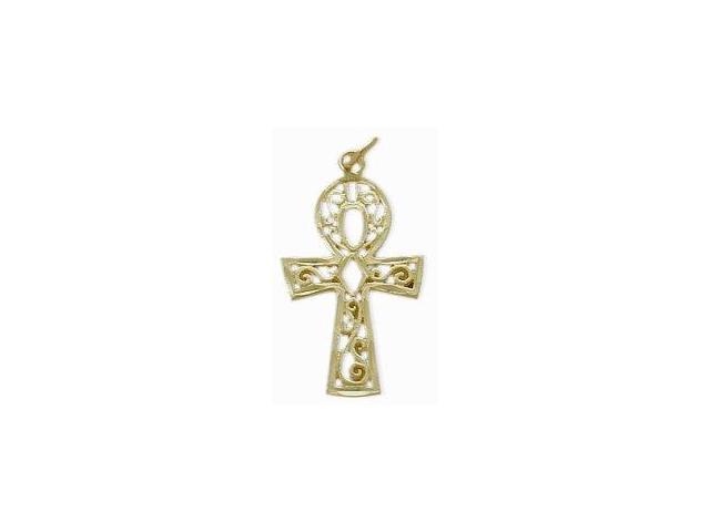 10 Karat Diamond Cut Yellow Gold Ankh Charm Pendant with Chain