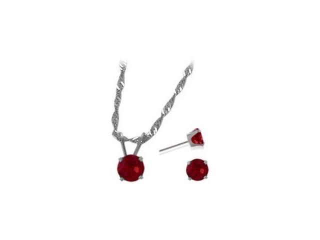 14K White Gold Created 1.65tcw. Ruby Solitaire Pendant and Earrings Set