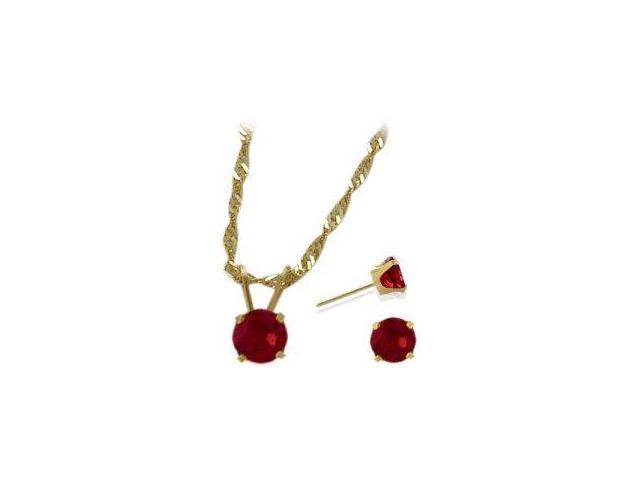 14K Yellow Gold Created 1.65tcw. Ruby Solitaire Pendant and Earrings Set