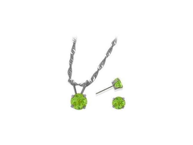 14K White Gold Genuine 1.50tcw. Peridot Solitaire Pendant and Earrings Set