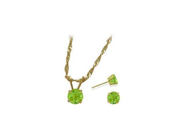 14K Yellow Gold Genuine 1.50tcw. Peridot Solitaire Pendant and Earrings Set