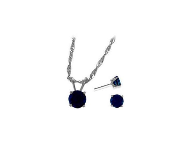 14K White Gold Genuine 1.80tcw. Sapphire Solitaire Pendant and Earrings Set
