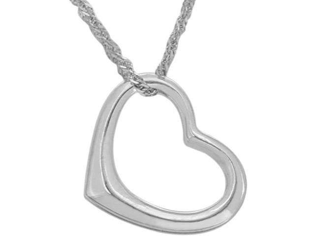 Ladies Sterling Silver High Polish Floating Heart Pendant with Chain