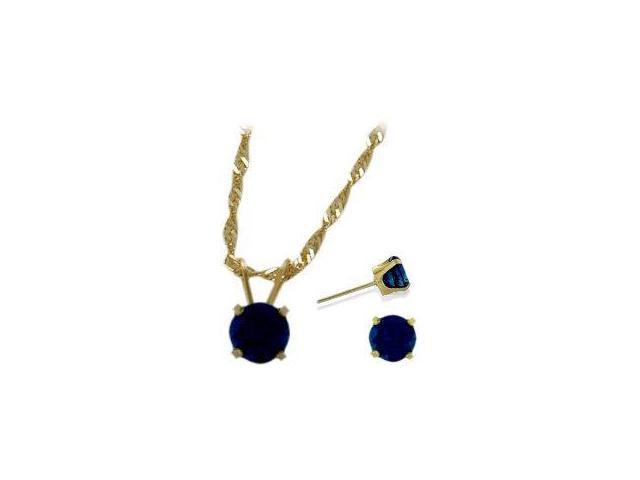 14K Yellow Gold Genuine 1.80tcw. Sapphire Solitaire Pendant and Earrings Set