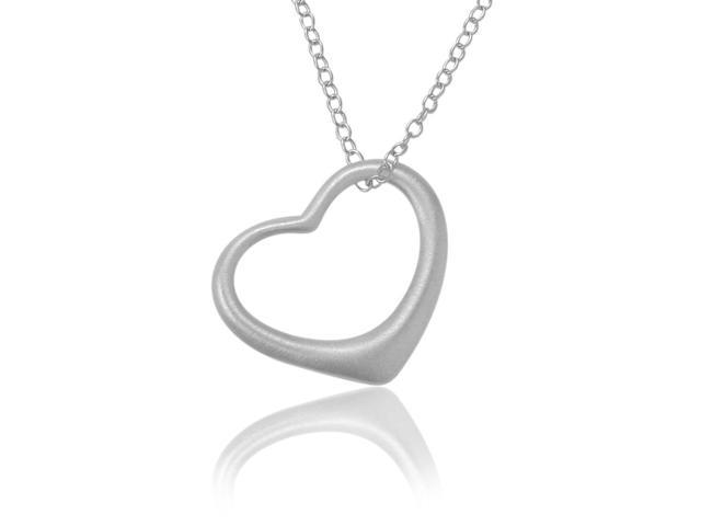 Ladies Sterling Silver Satin Finish Floating Heart Pendant with Chain