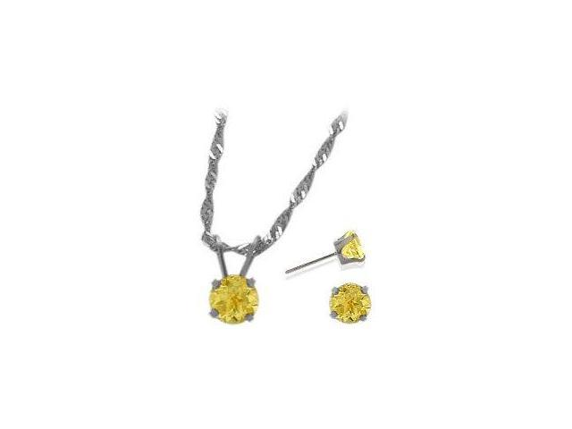 14K White Gold Genuine 1.20tcw. Citrine Solitaire Pendant and Earrings Set