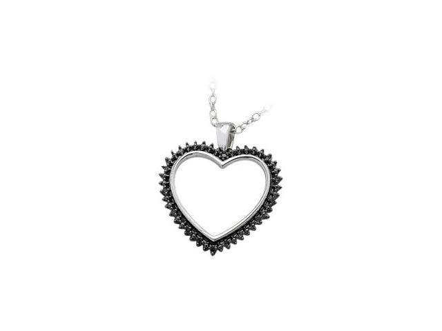 Ladies Genuine Sterling Silver Black Diamond Heart Pendant with a chain