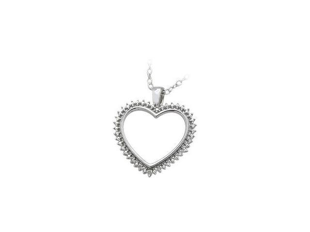 Ladies Genuine Sterling Silver White Diamond Heart Pendant with a chain