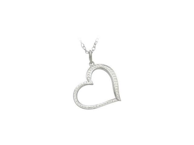 Ladies Genuine Sterling Silver Diamond Heart Pendant with a chain