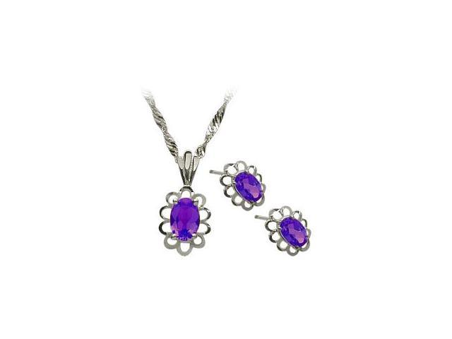 Genuine Sterling Silver Amethyst Oval Pendant & Earrings Set with a chain