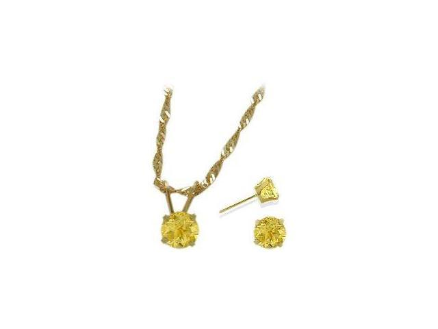 14K Yellow Gold Genuine 1.20tcw. Citrine Solitaire Pendant and Earrings Set