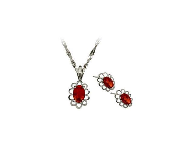 Genuine Sterling Silver Created Ruby Oval Pendant & Earrings Set with a chain