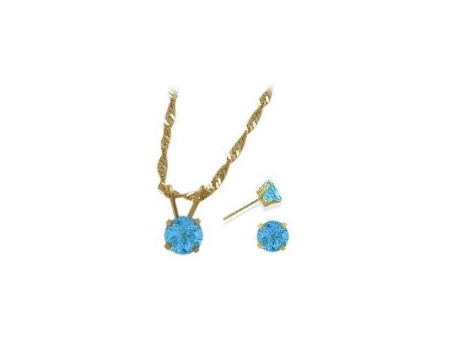 14K Yellow Gold Genuine 1.65tcw. Blue Topaz Solitaire Pendant and Earrings Set