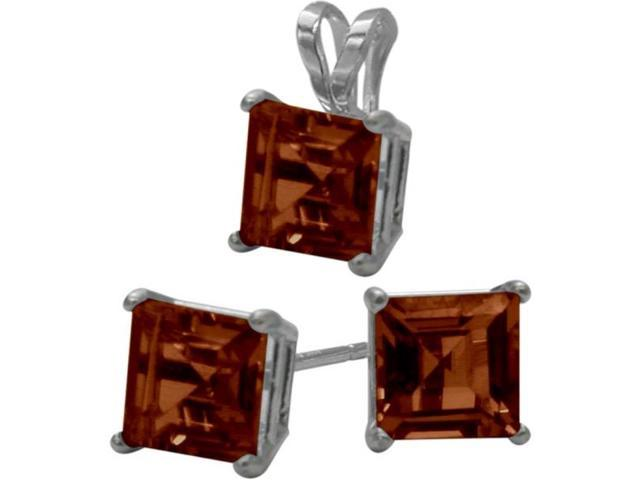 14K White Gold Genuine 2.25tcw. Square  Garnet Solitaire Pendant and Earrings Set