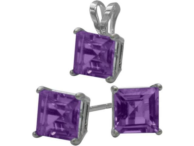 14K White Gold Genuine 1.50tcw. Square  Amethyst Solitaire Pendant and Earrings Set