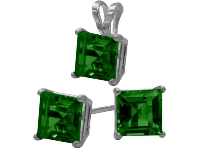 14K White Gold Created 1.65tcw. Square  Emerald Solitaire Pendant and Earrings Set