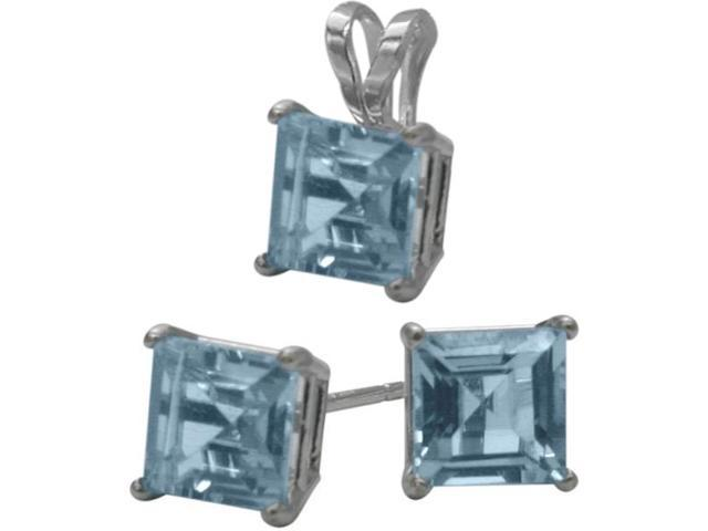 14K White Gold Created 1.80tcw. Square  Aquamarine Solitaire Pendant and Earrings Set