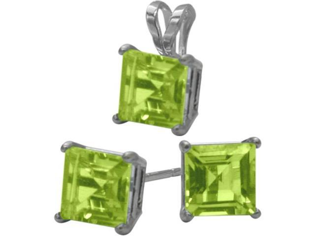 14K White Gold Genuine 1.95tcw. Square  Peridot Solitaire Pendant and Earrings Set