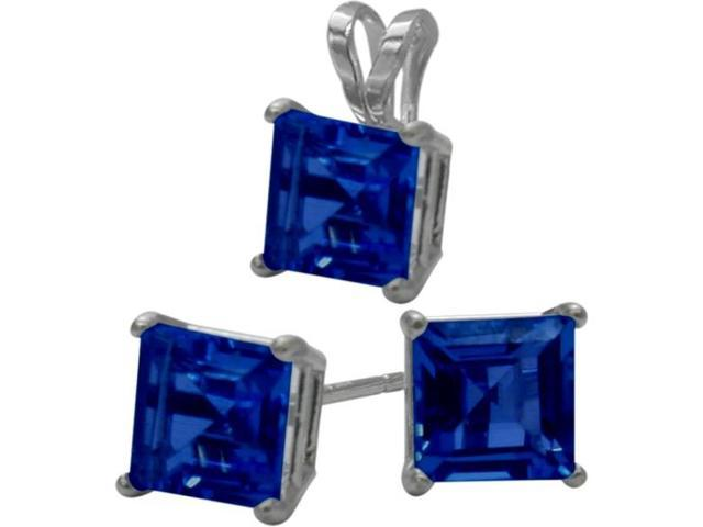 14K White Gold Created 1.80tcw. Square  Sapphire Solitaire Pendant and Earrings Set