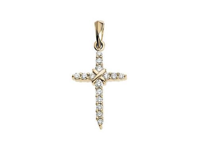 0.225tcw 14 Karat Yellow Gold Diamond Cross Pendant with a chain