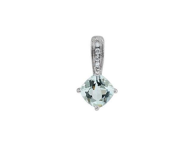 14 Karat White Gold Aquamarine & Diamond Pendant with Chain