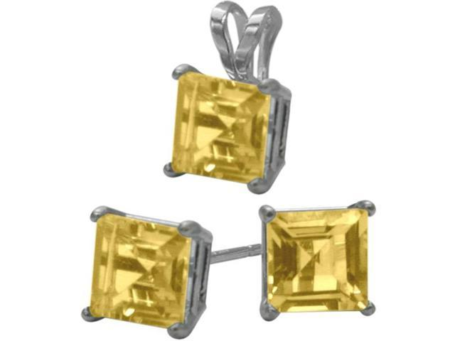 14K White Gold Genuine 1.80tcw. Square  Citrine Solitaire Pendant and Earrings Set