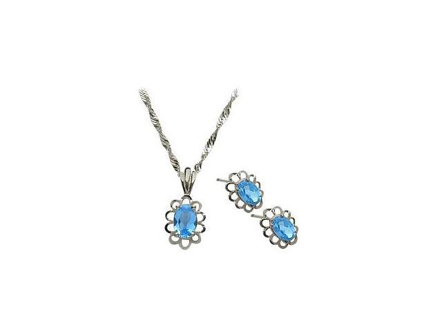 Genuine Sterling Silver Blue Topaz Oval Pendant & Earrings Set with a chain