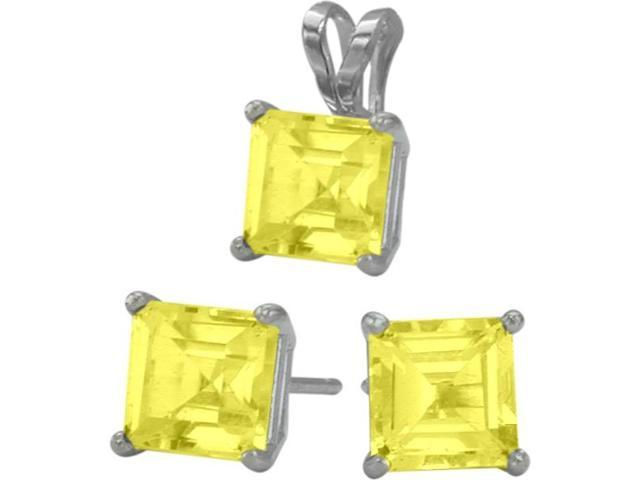 14K White Gold Genuine 1.20tcw. Square  Created Yellow Topaz Solitaire Pendant and Earrings Set