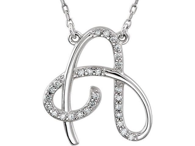 Genuine Sterling Silver Diamond Initial A Pendant with a chain