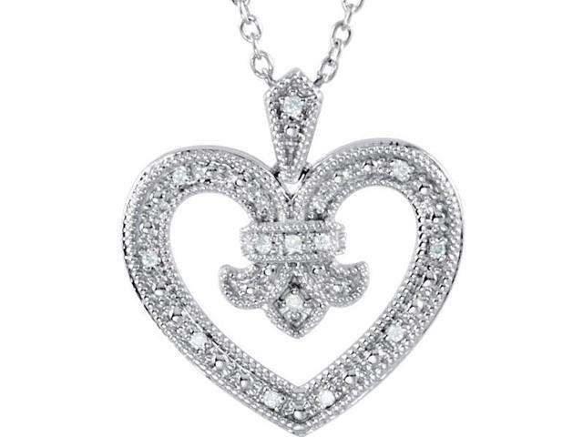 Genuine Sterling Silver Fleure-de-Lis 0.068 tcw Diamond Heart Pendant with a chain