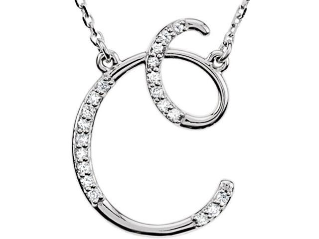 Genuine Sterling Silver Diamond Initial C Pendant with a chain