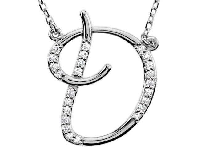 Genuine Sterling Silver Diamond Initial D Pendant with a chain