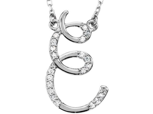 Genuine Sterling Silver Diamond Initial E Pendant with a chain