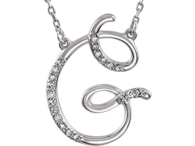 Genuine Sterling Silver Diamond Initial G Pendant with a chain